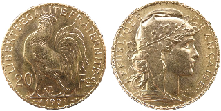 20 Franc Gold Rooster Coins